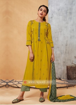 Shagufta Golden Yellow Salwar Suit