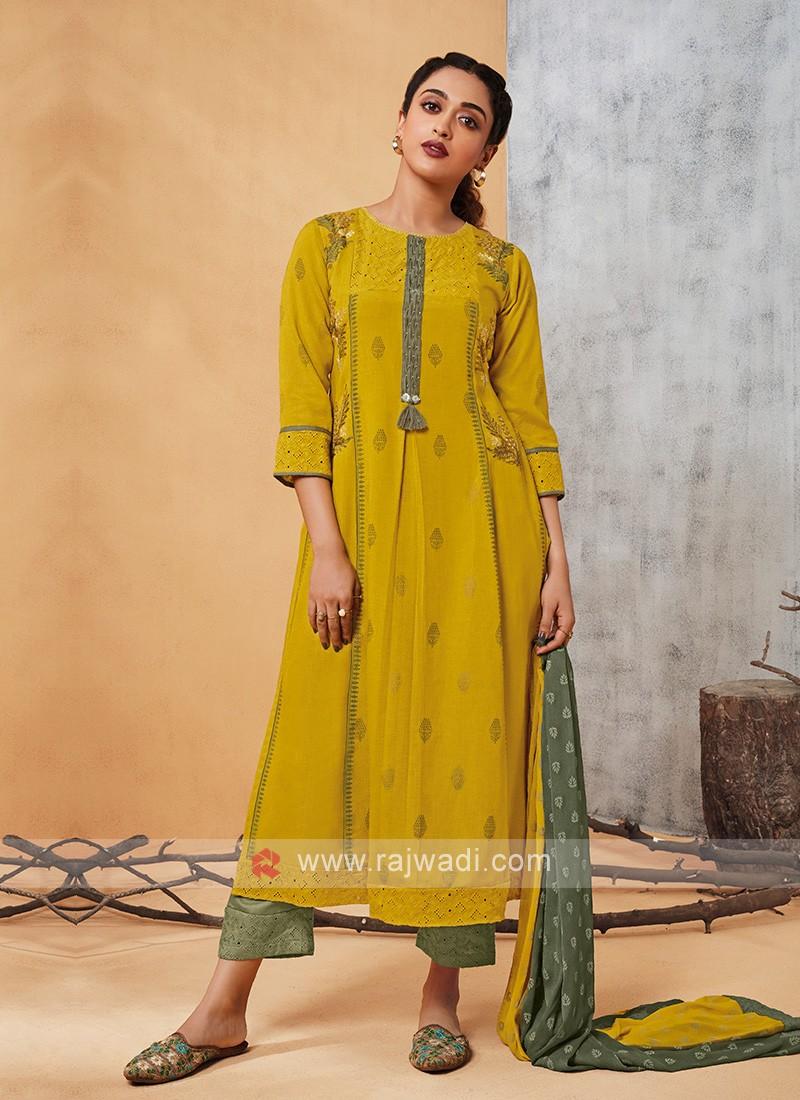 Shagufta Golden Yellow Salwar Suit
