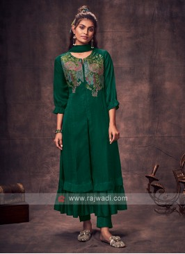 Shagufta Green Color Anarkali Suit