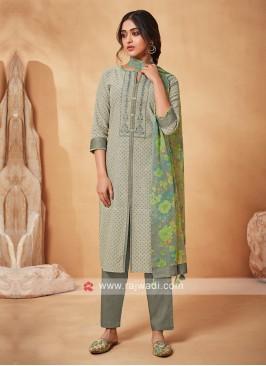 Shagufta Grey And Cream Color Salwar Suit
