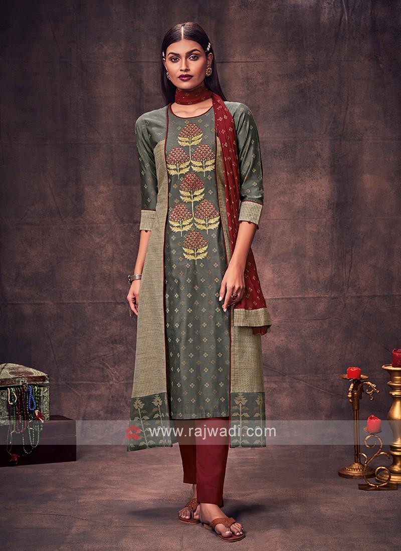 Shagufta Grey & Maroon Color Salwar Suit