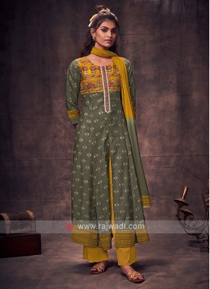 Shagufta Grey & Yellow Color Anarkali Suit