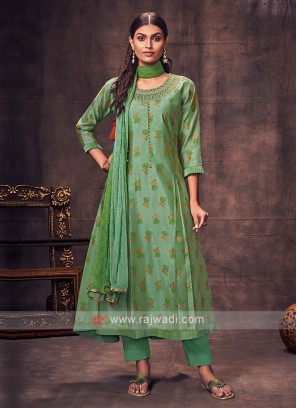 Shagufta Light Green Color Anarkali Suit