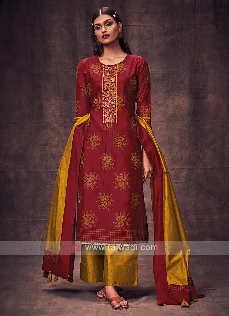 Shagufta Maroon & Mustard Yellow Salwar Suit