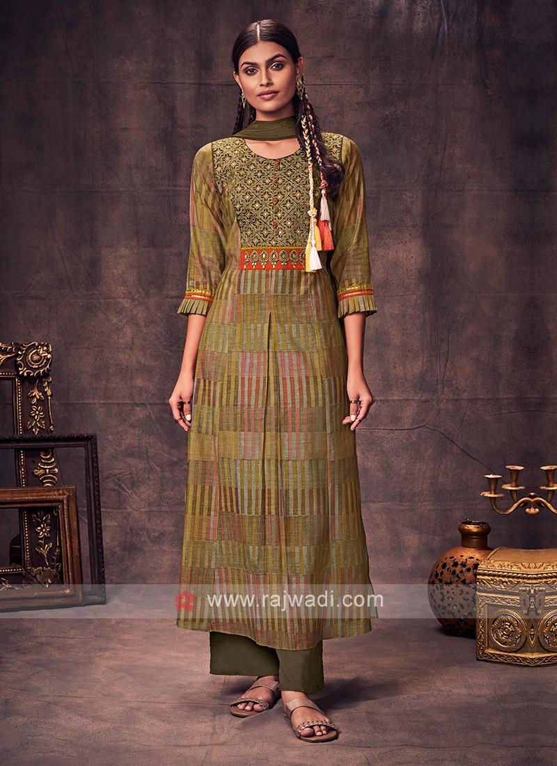 Shagufta Mehndi Green Color Anarkali Suit