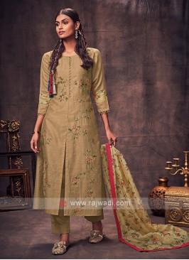 Shagufta Olive Color Salwar Suit