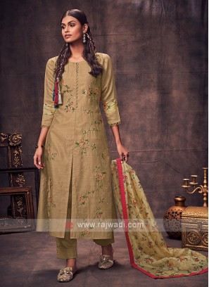Shagufta Olive Color Salwar Suit