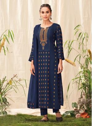 Shagufta Pant Style Cotton Suit In Navy Blue Color