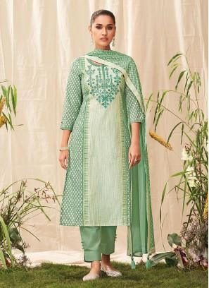 Shagufta Pant Style Cotton Suit In Pista Green Color