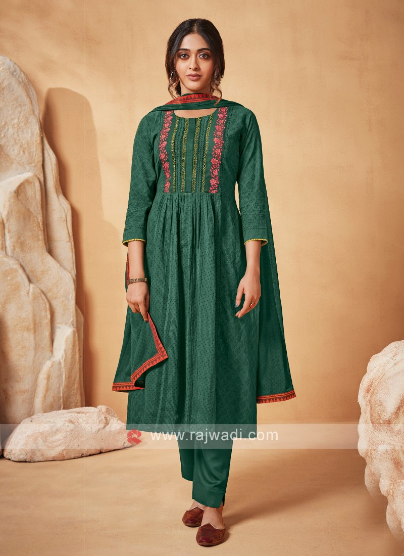 Shagufta Pant Style Suit In Green