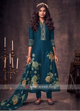 Shagufta Peacock Blue Color Anarkali Suit
