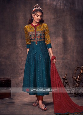 Shagufta Peacock Blue & Maroon Anarkali Suit