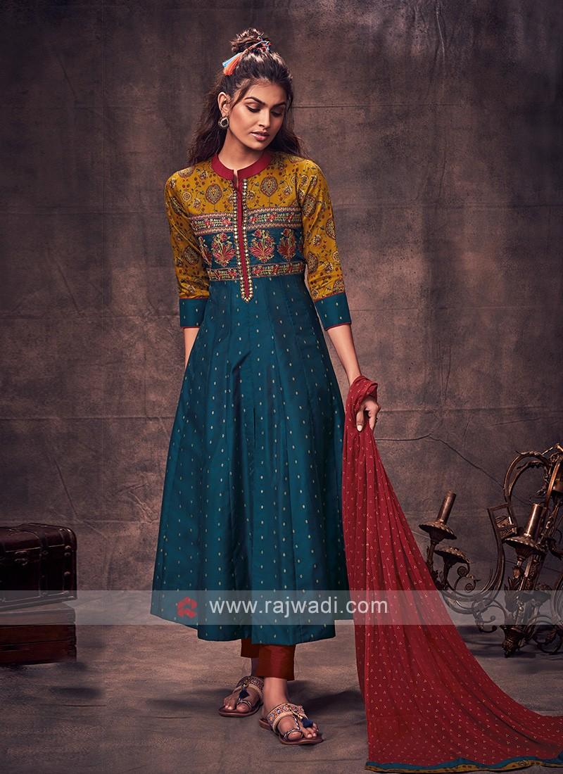 Shagufta Peacock Blue & Maroon Anarkali Suit