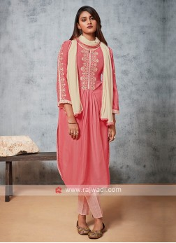 Shagufta Pink And Cream Pant Style Suit