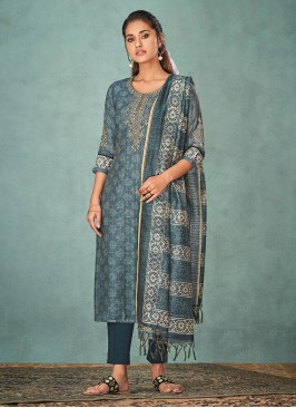 Shagufta Printed Salwar Kameez In Steel Blue Color
