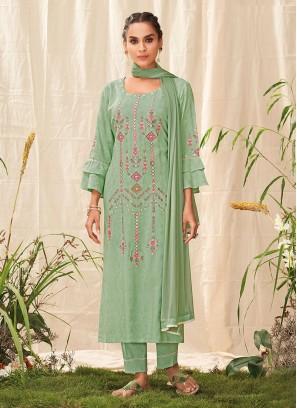 Shagufta Salwar Suit In Pista Green Color