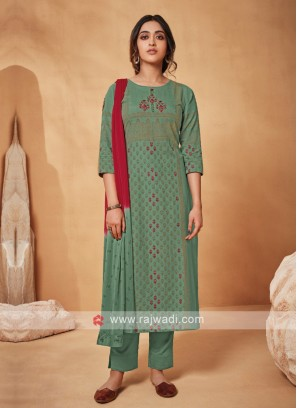 Shagufta Sea Green Suit