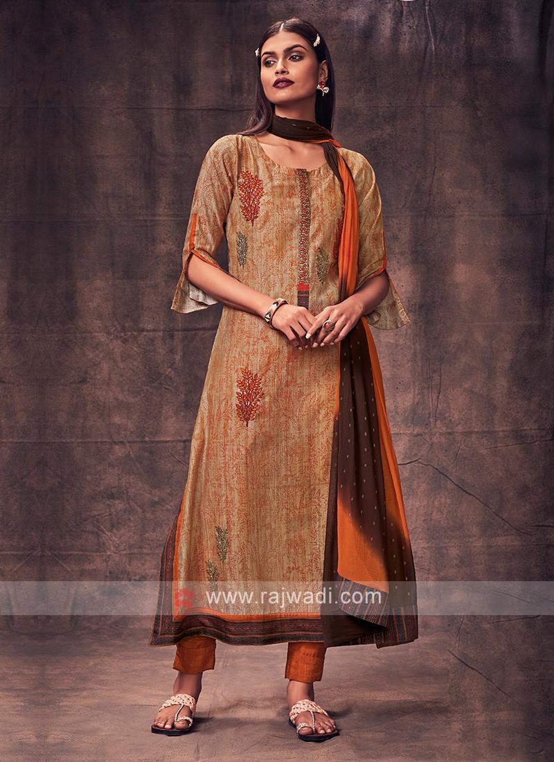 Shagufta Skin & Rust Color Salwar Suit