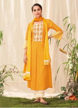 Shagufta Stunning Slawar Suit In Yellow Color