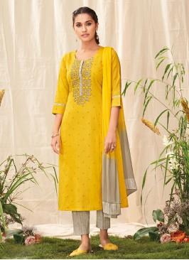 Shagufta Salawar Suit In Yellow Mustard Color