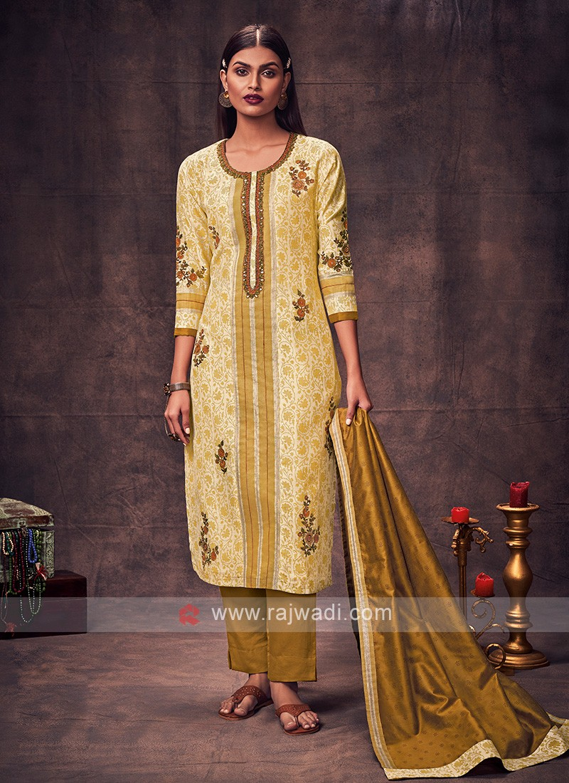 Shagufta Yellow & Mustard Color Salwar Suit