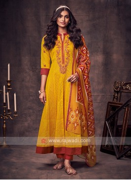 Shagufta Yellow & Red Color Anarkali Suit