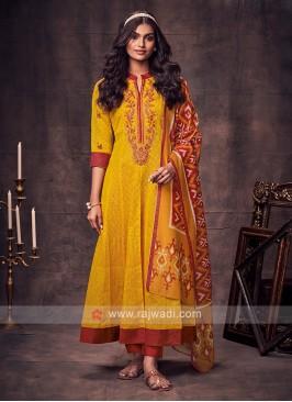 Shagufta Yellow & Red Color Anarkali Suit