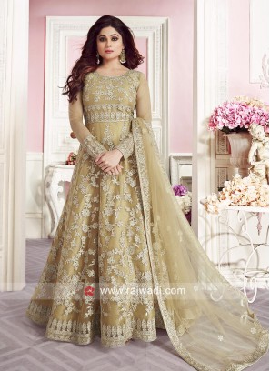 Shamita Shetty Embroidered Anarkali Suit in Mustard Yellow