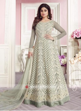 Shamita Shetty in Exclusive Green Anarkali