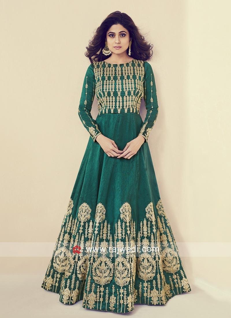 Shamita Shetty in Green Gown