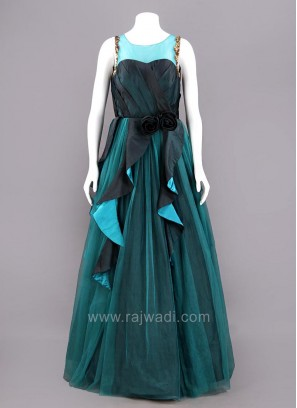 Sheer Ruffle Full Length Gown in Teal