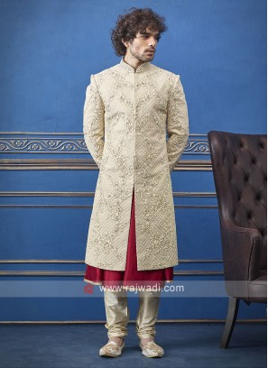 Red And Cream Sherwani for Groom