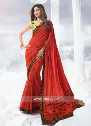 Shilpa Shetty Art Silk Red Saree