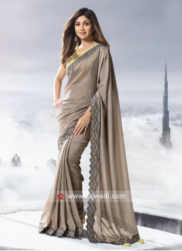 Shilpa Shetty Art Silk Saree in Grey