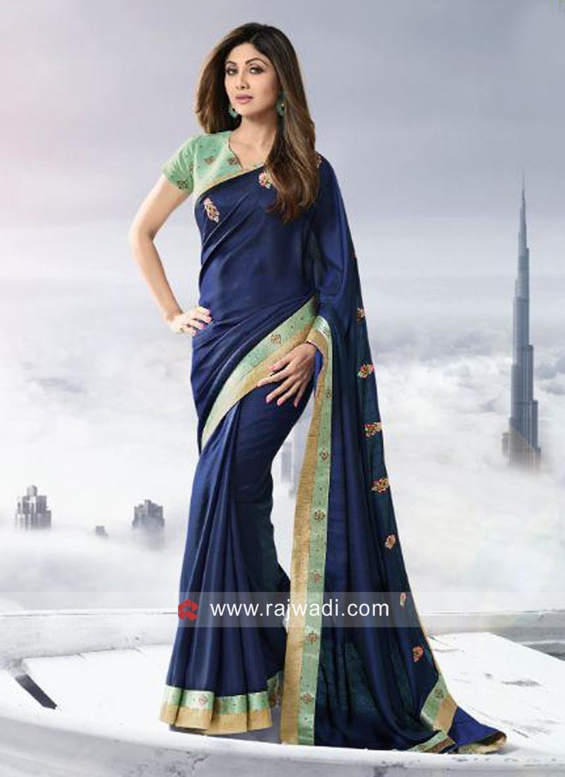 Shilpa Shetty Art Silk Sari with Raw Silk Blouse