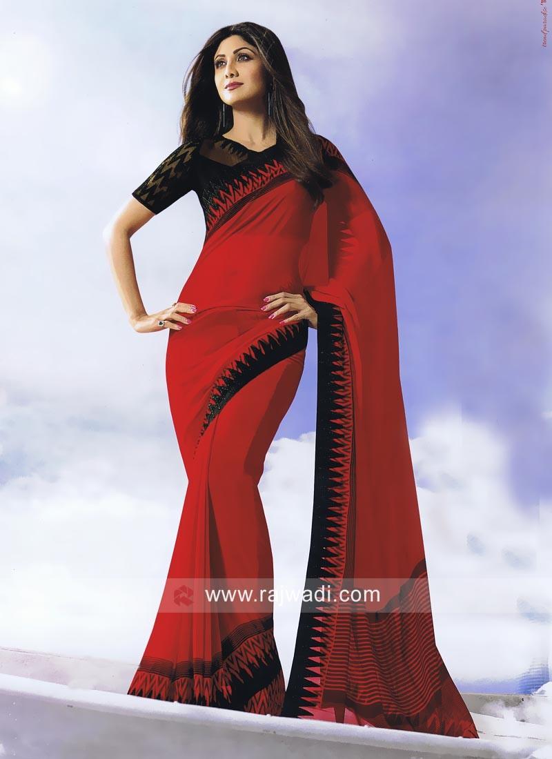 Shilpa Shetty in Printed Red Saree