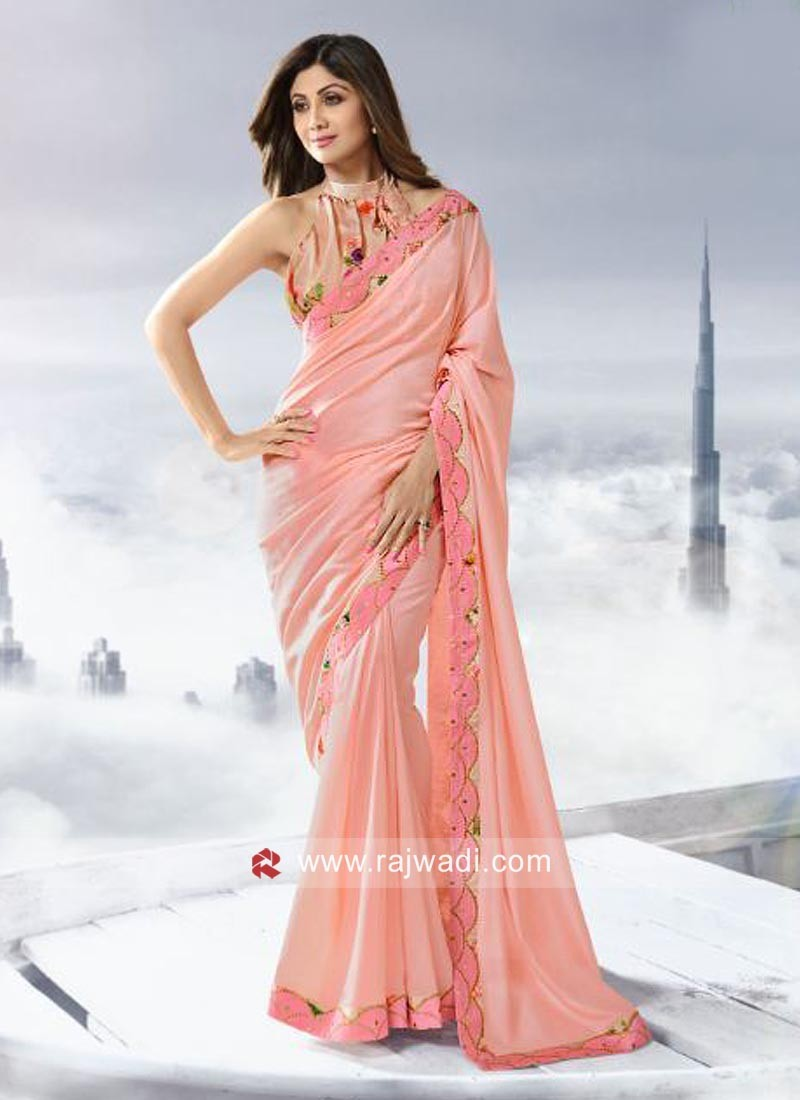 Shilpa Shetty Party Wear Saree in Peach