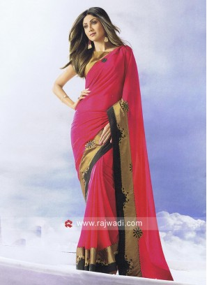 Shilpa Shetty Party Wear Saree in Pink