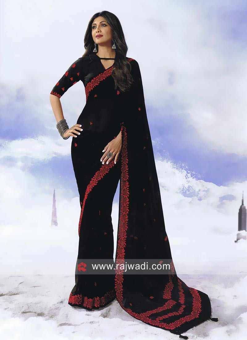 Shilpa Shetty Resham Work Sari in Black