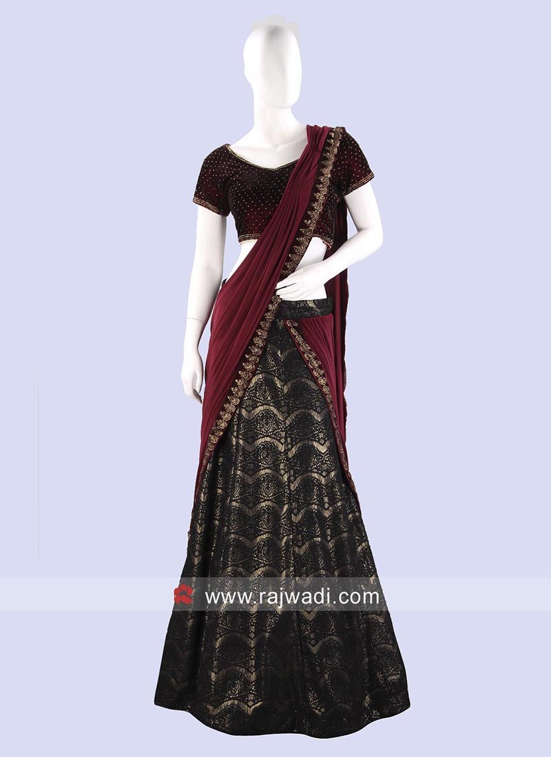 Shimmer and Lycra Lehenga Saree