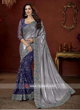 Shimmer and Net Half n Half Saree