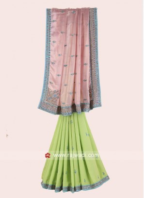 Shimmer Chiffon and Satin Silk Half Saree