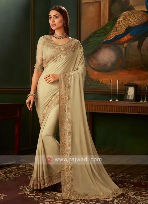 Shimmer chiffon golden cream saree with blouse