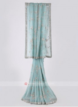 Shimmer chiffon light aqua saree