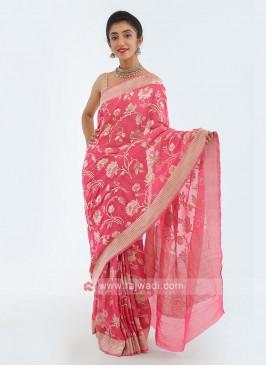 Shimmer Chiffon Pink Saree