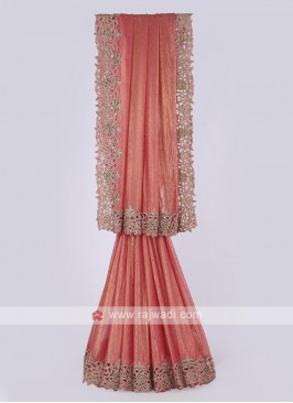 Shimmer chiffon saree in coral color
