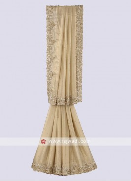 Shimmer chiffon saree in golden color