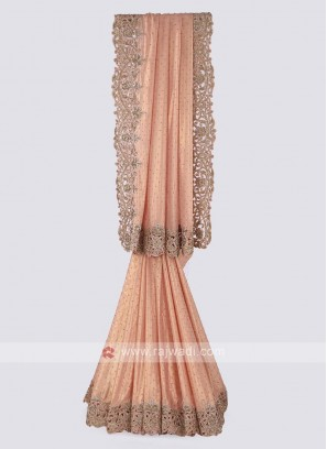 Shimmer chiffon saree in peach color