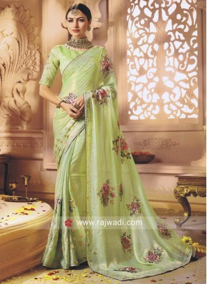 Shimmer Chiffon Saree in Pista Green