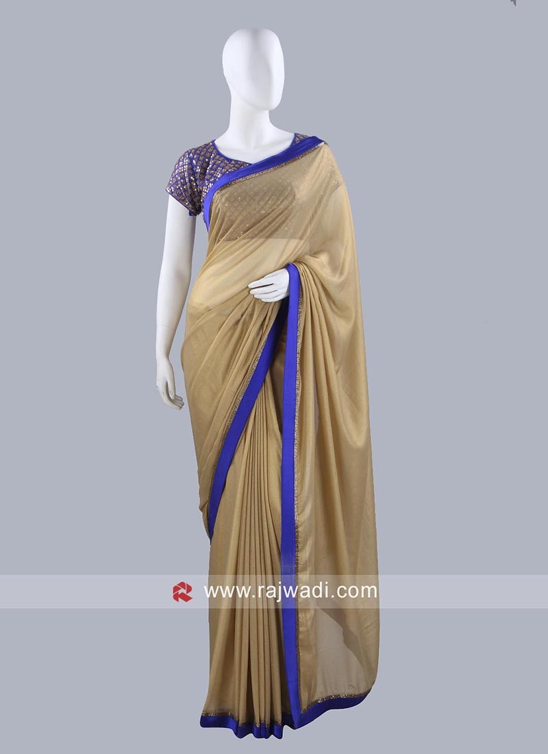 Shimmer Chiffon Saree with Border